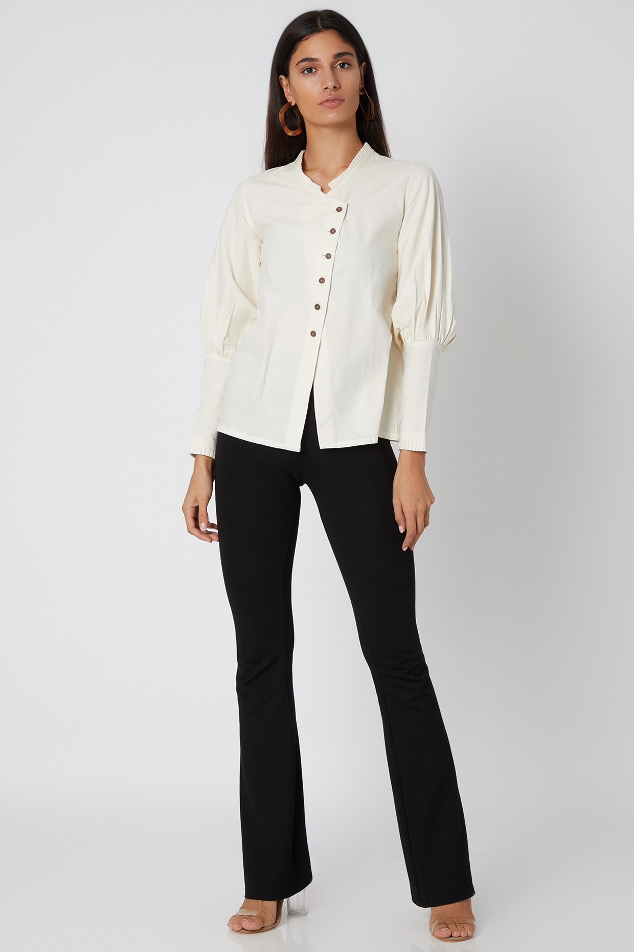 Off White Khadi Cotton Shirt With Victorian Lantern Sleeves by Avadh