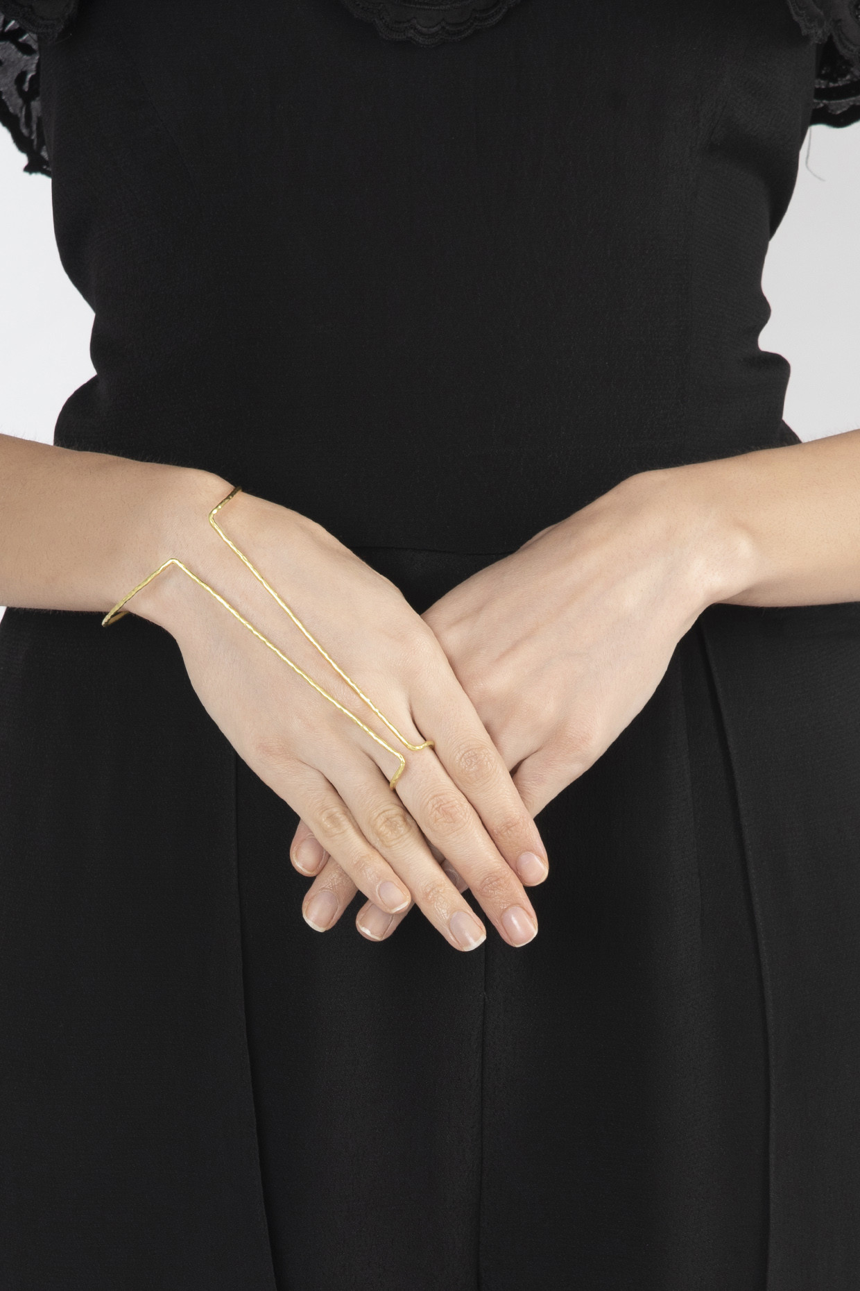 Gold Plated Texture Finished Bracelet Ring by Arvino