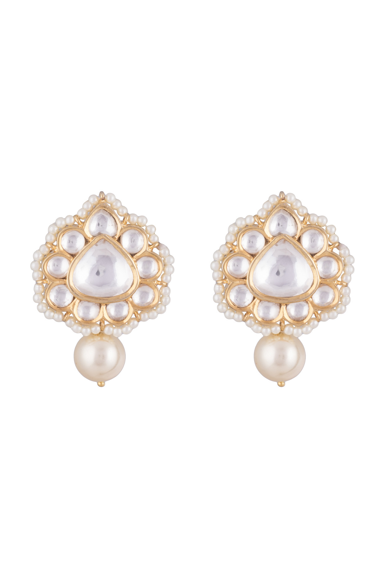 Gold Finish Faux Kundan & Pearls Earrings by Aster