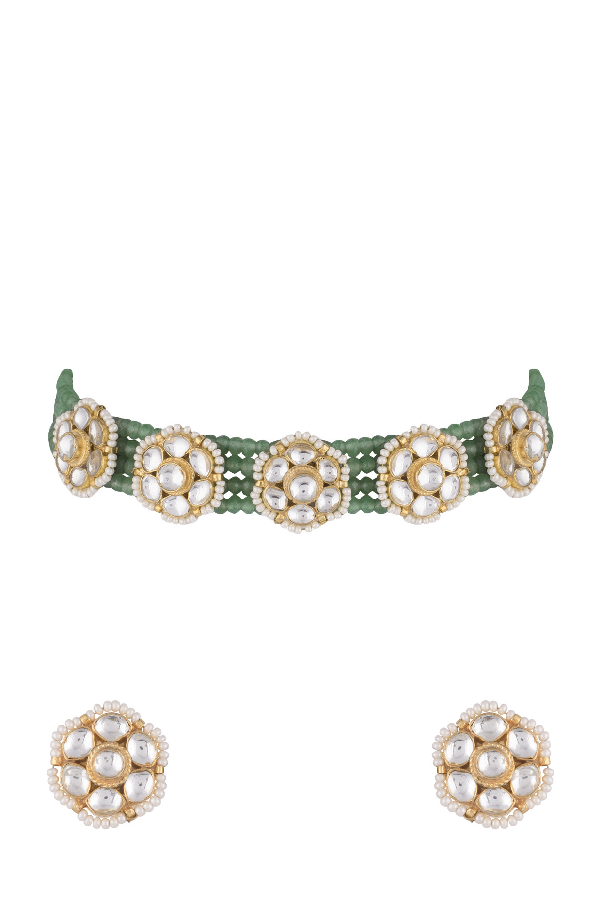 Gold Finish Faux Pearls, Kundan & Green Bead Choker Necklace Set by Aster