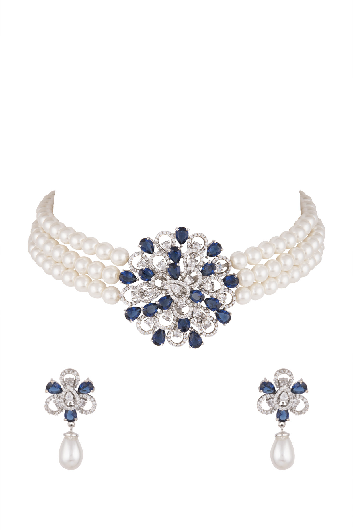 White Finish Faux Diamond & Pearl Necklace Set With Ring by Aster