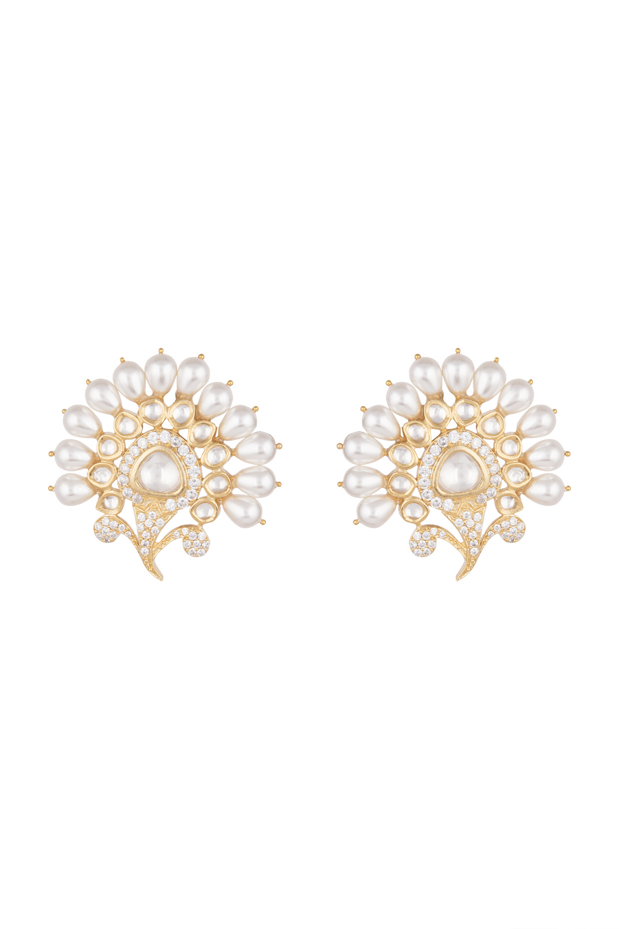 Gold Finish Faux Kundan, Pearl & Diamond Earrings by Aster-Handpicked for You