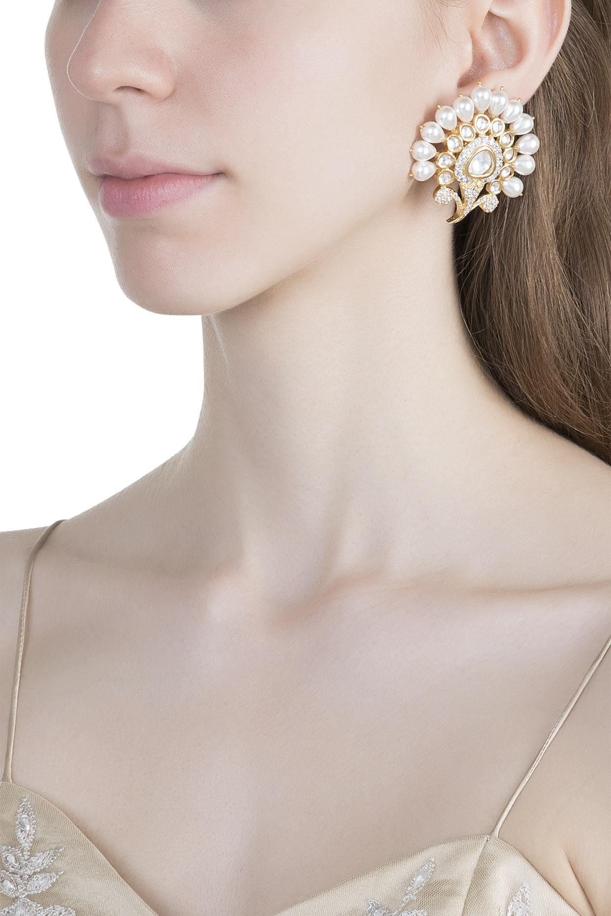 Gold Finish Faux Kundan, Pearl & Diamond Earrings by Aster