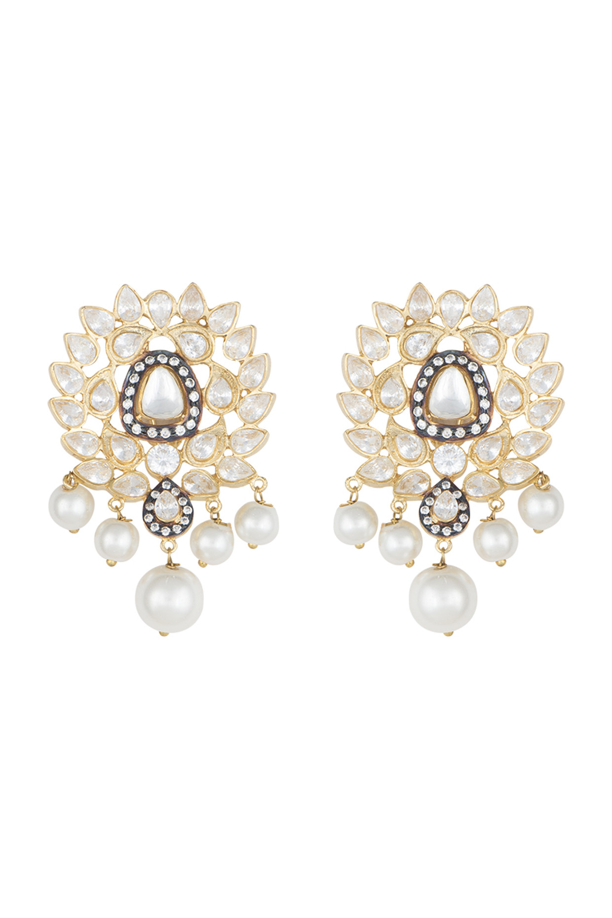 Yellow Rhodium Plated Faux Polki Stone Earrings by Aster