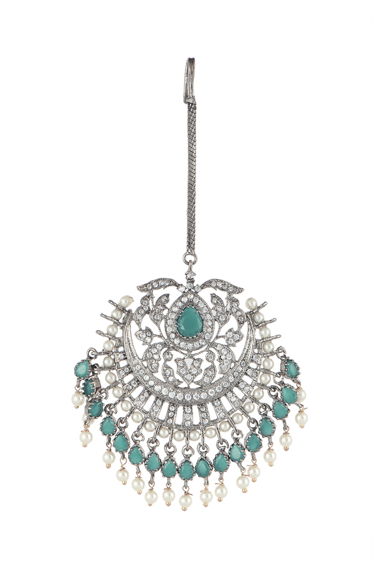 Silver Plated Faux Diamond & Green Pearl Maang Tikka by Aster-Handpicked for You