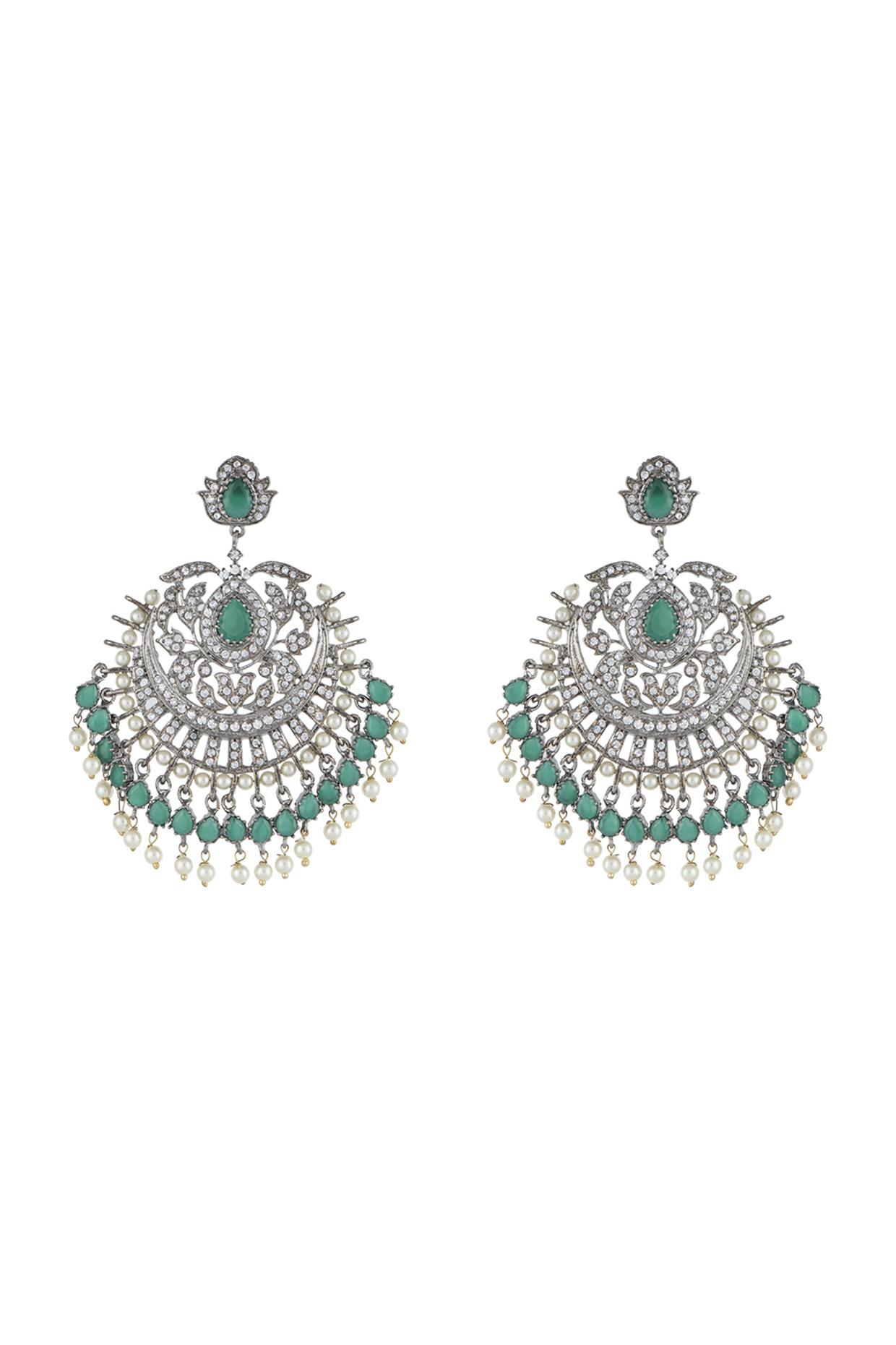 Silver Plated Faux Diamond & Green Pearls Dangler Earrings by Aster