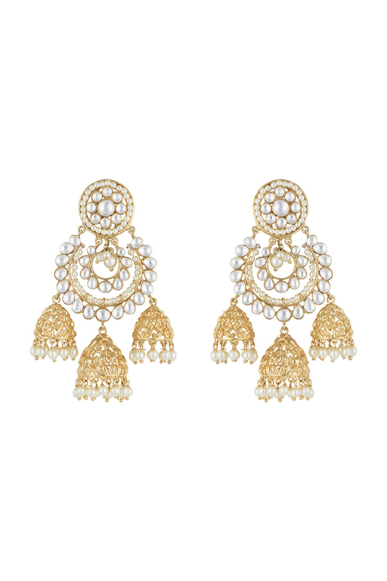 Gold plated faux kundan long chandbali earrings by Aster