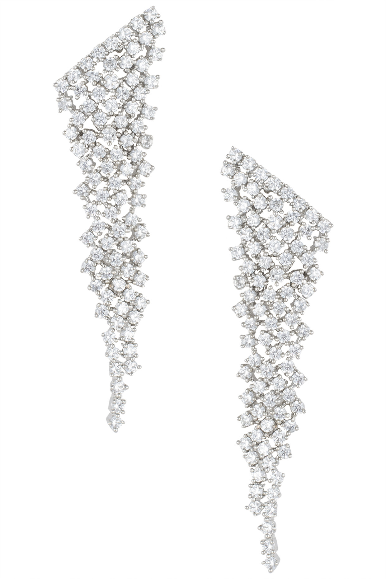 Silver plated waterfall faux diamond earrings by Aster