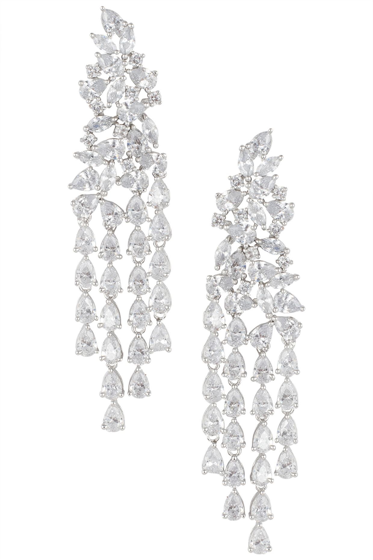 Silver plated multi line faux solitaire diamond earrings by Aster