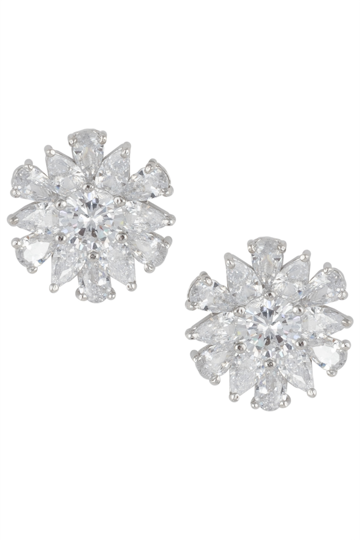 Silver plated small floral diamond stud earrings by Aster
