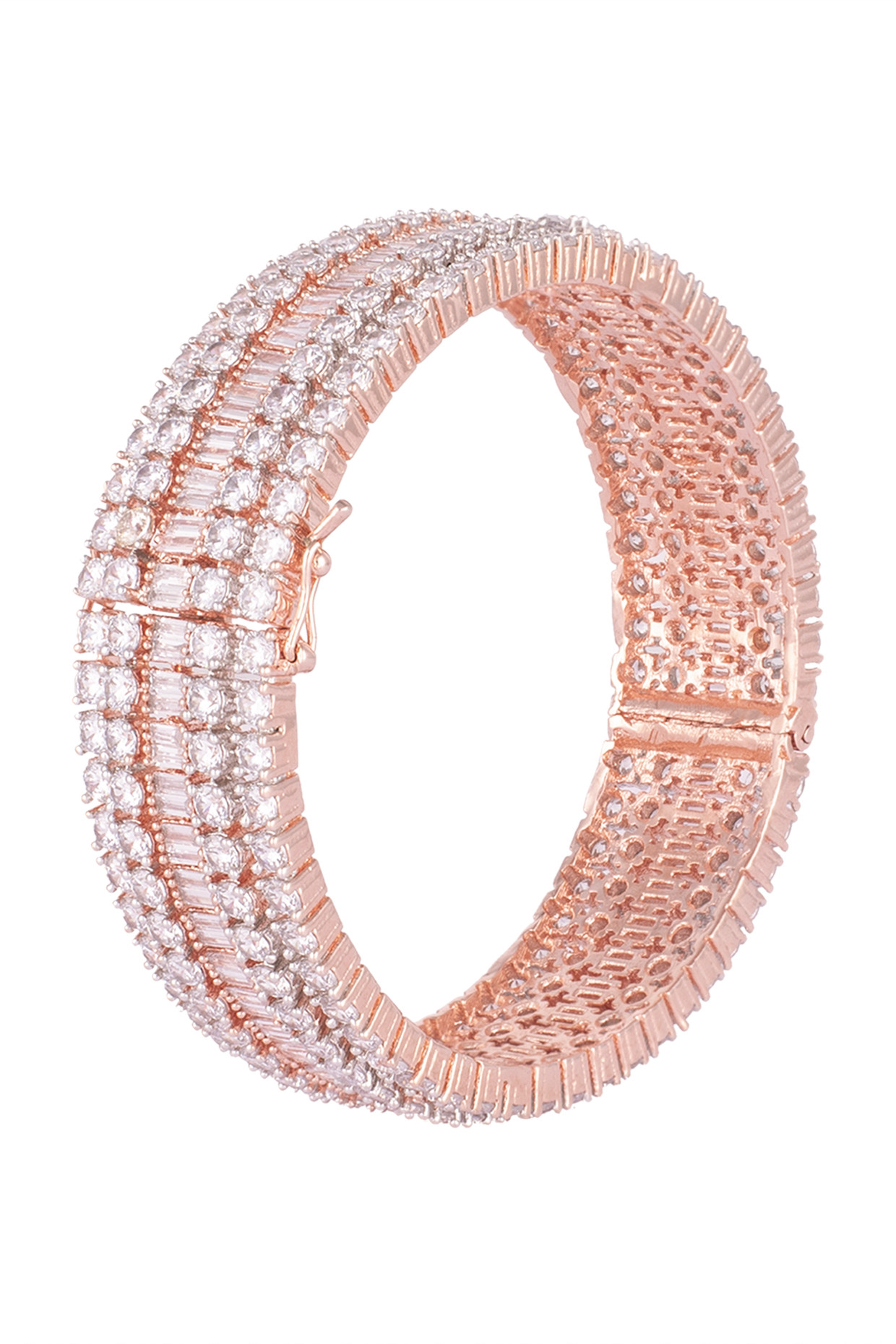 Rose gold plated round diamond baguette bangle by Aster