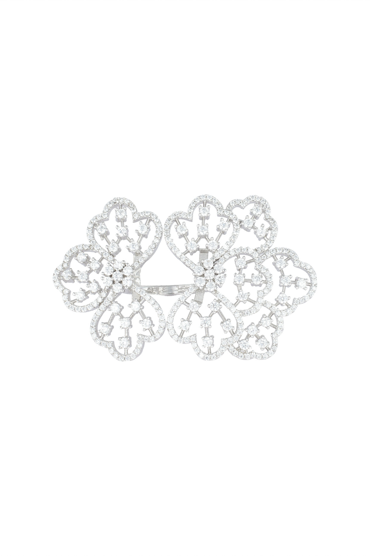 Silver plated oversized faux diamond floral ring by Aster