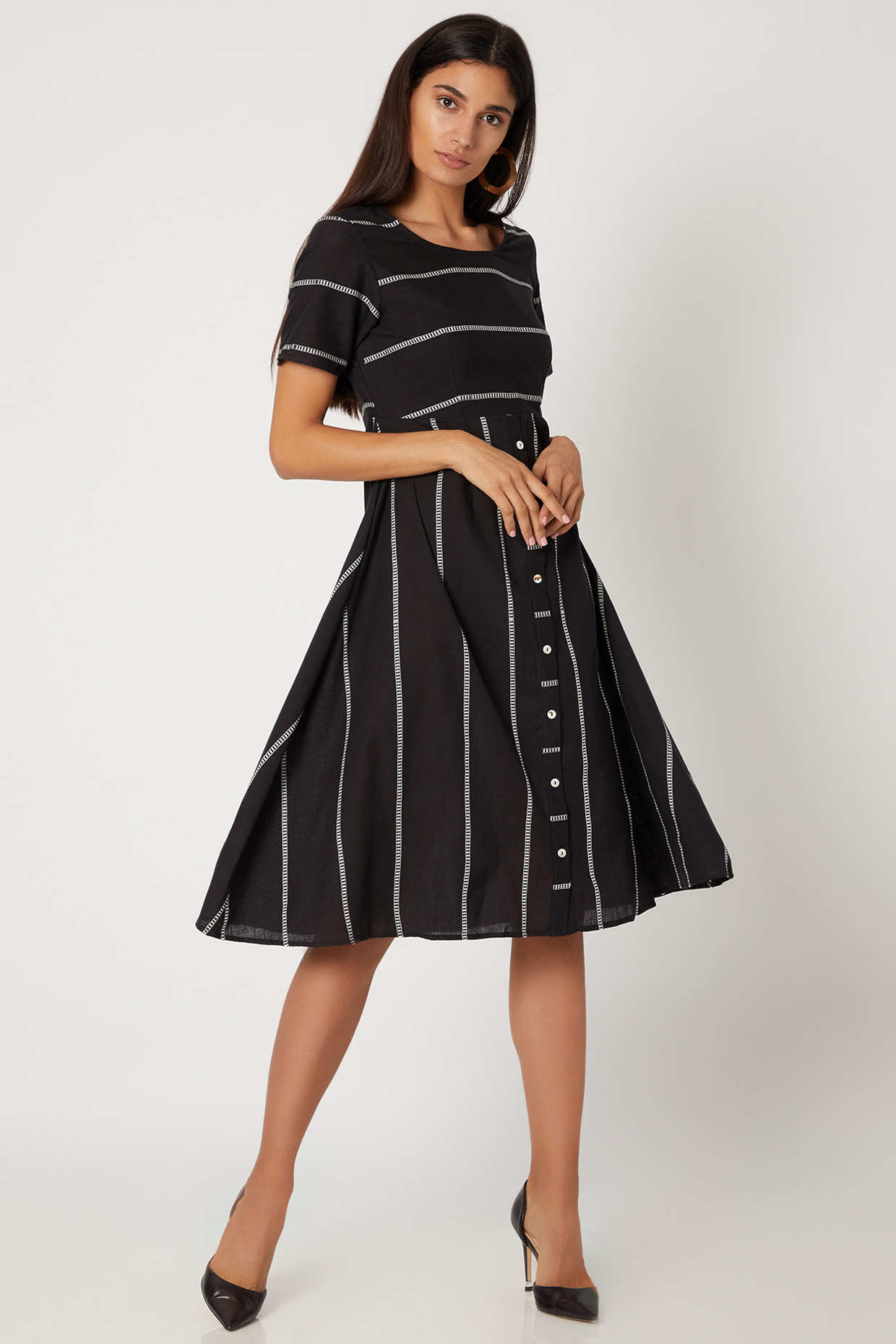 Black Striped Hand Woven Dress With Front Buttons by Avadh