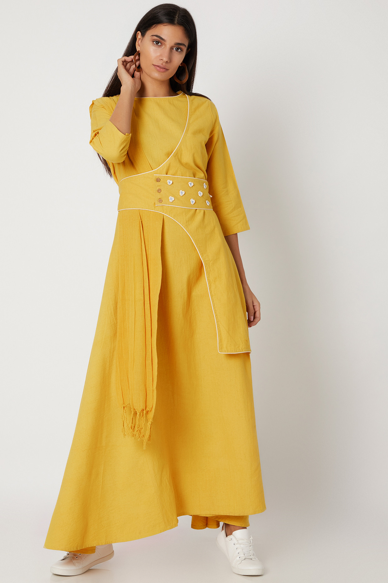 Yellow Draped Wrap Dress With Flowers by Avadh