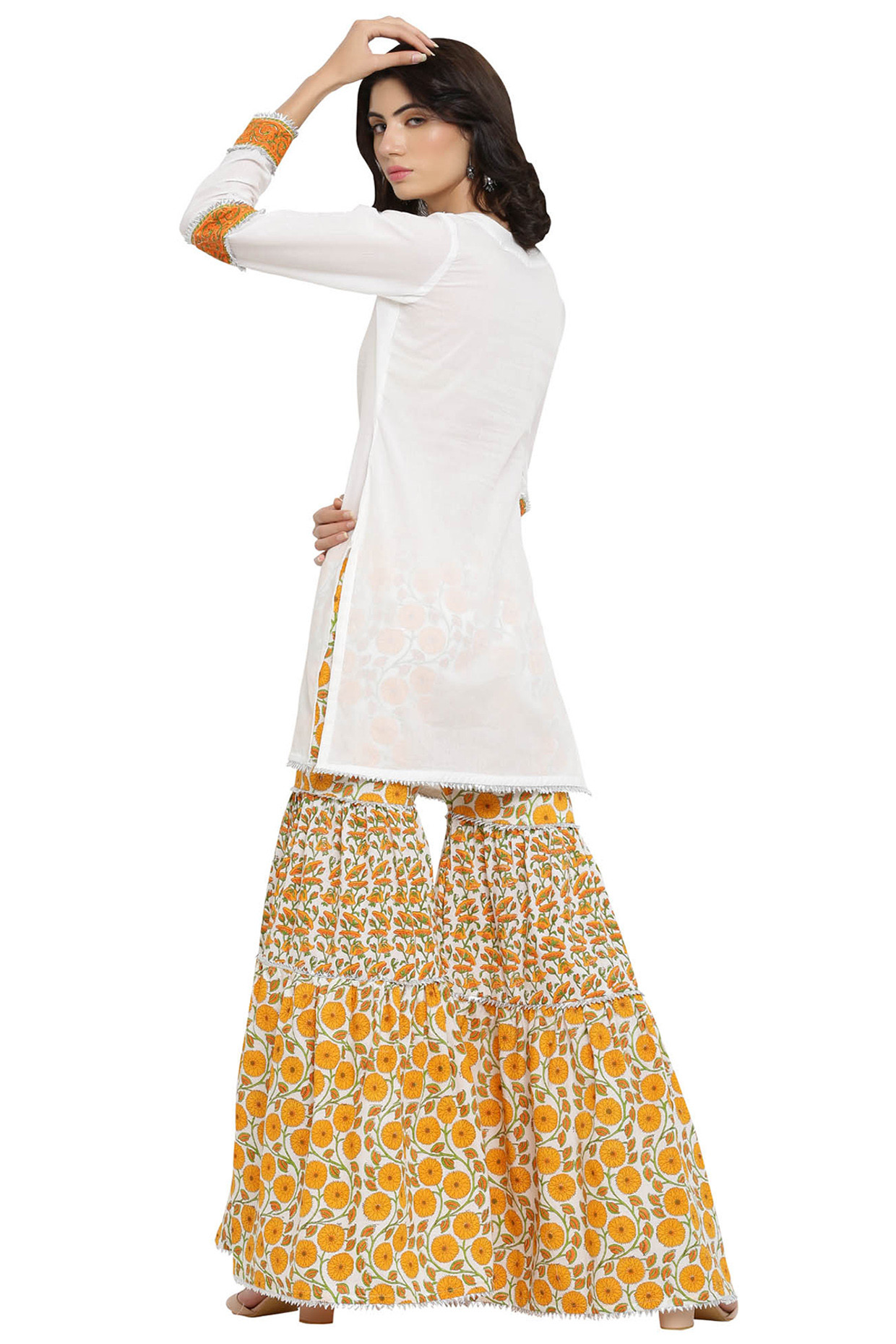 White Kurta With Yellow Sharara Pants by Blue Lotus