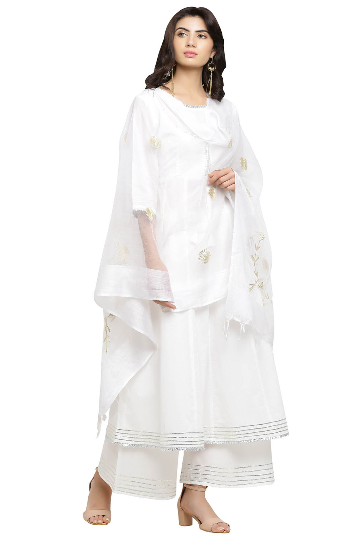 White Kurta With Palazzo & Dupatta by Blue Lotus-Handpicked for You