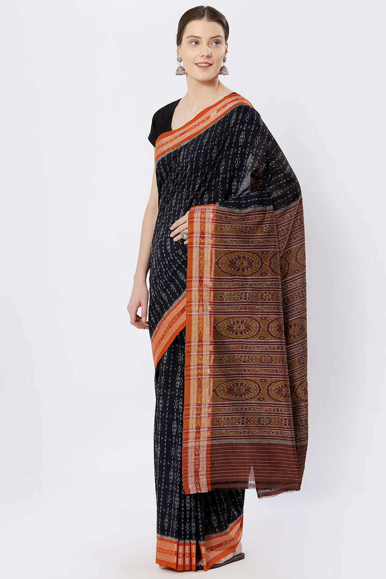 Black Sambalpuri Dual Ikat Cotton Saree by Crafts Collection