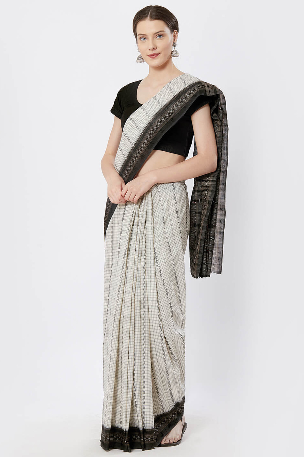 Off White And Black Sambalpuri Cotton Saree by Crafts Collection