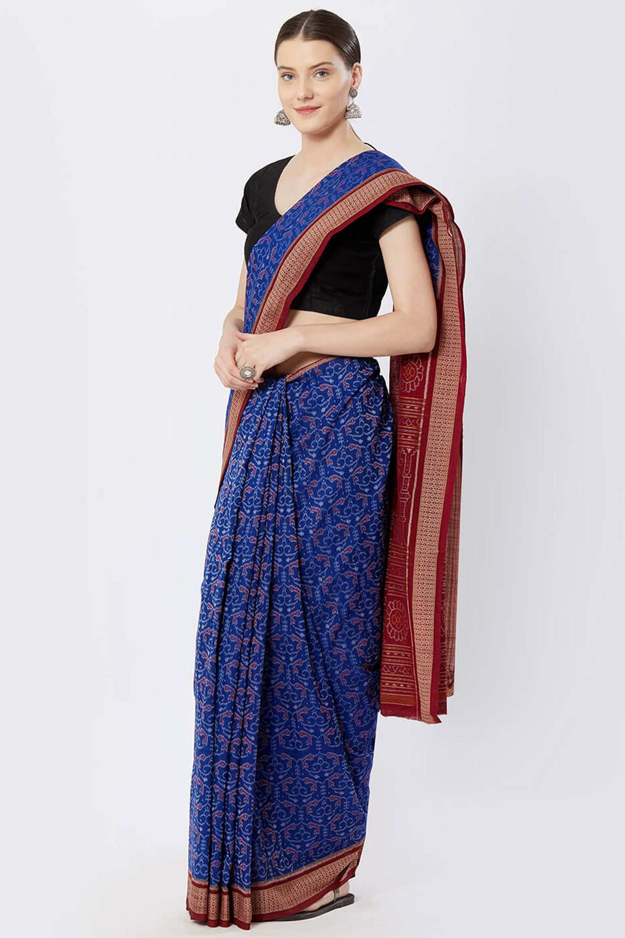 Blue Sambalpuri Bomkai Cotton Saree by Crafts Collection
