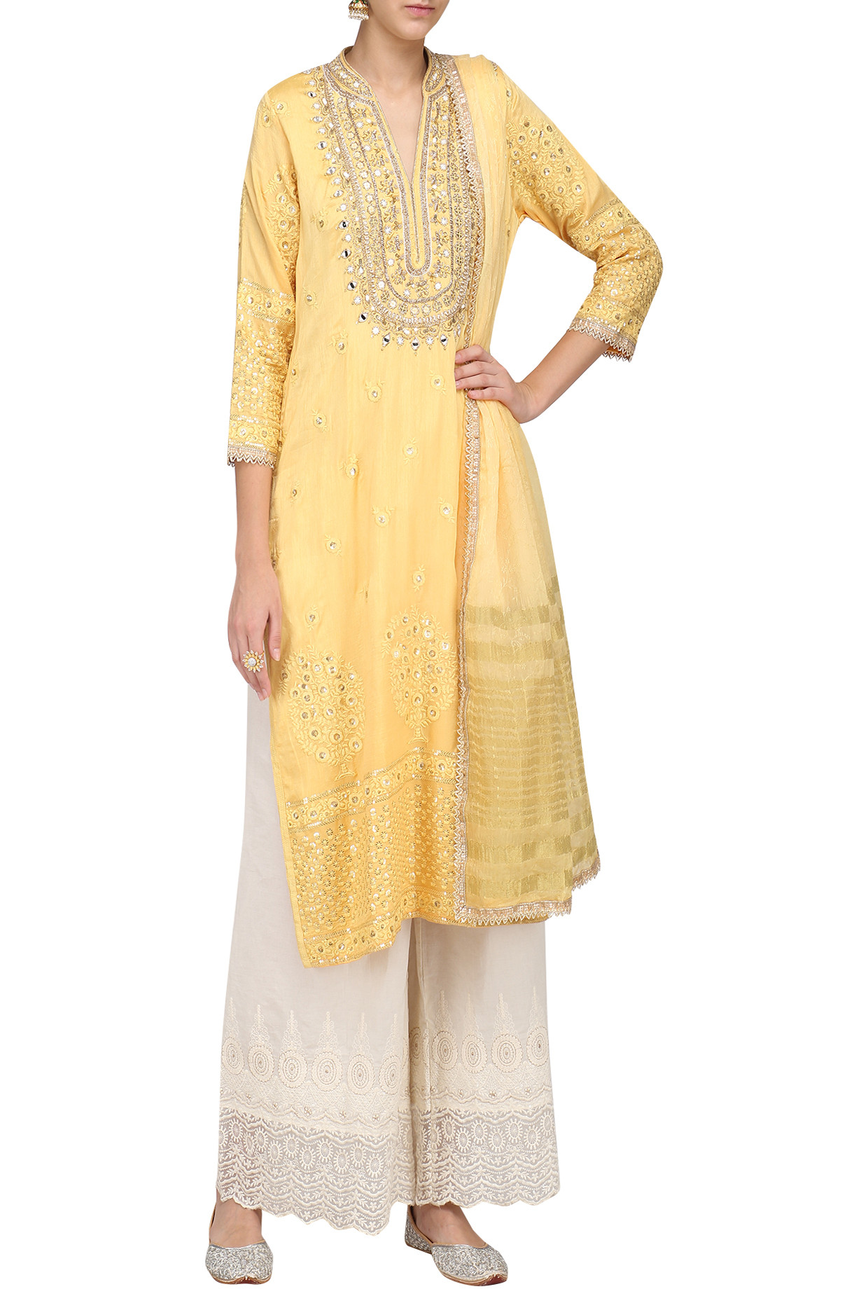 Yellow Embroidered Kurta with Palazzo Pants Set by Gopi Vaid