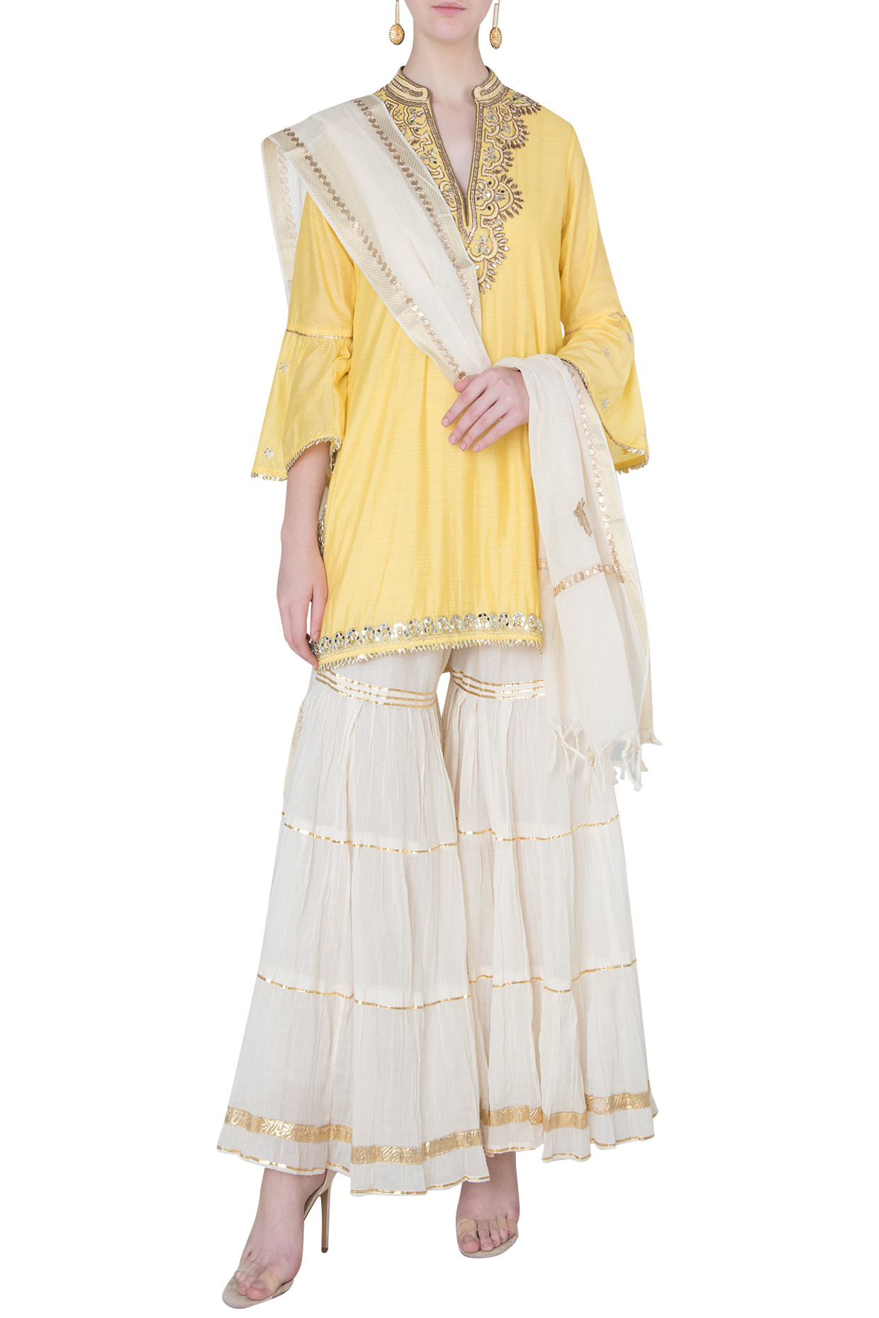 Yellow Embroidered Kurta with Off White Sharara Pants Set by Gopi Vaid