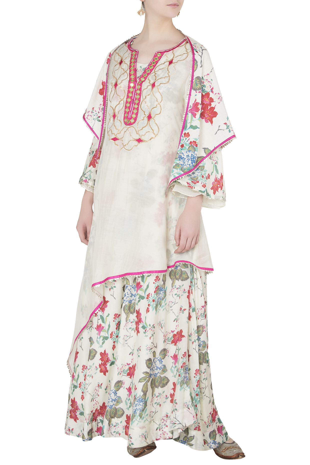 White Aysmmetrical Embroidered and Printed Kurta with Triangle Stole by Gopi Vaid
