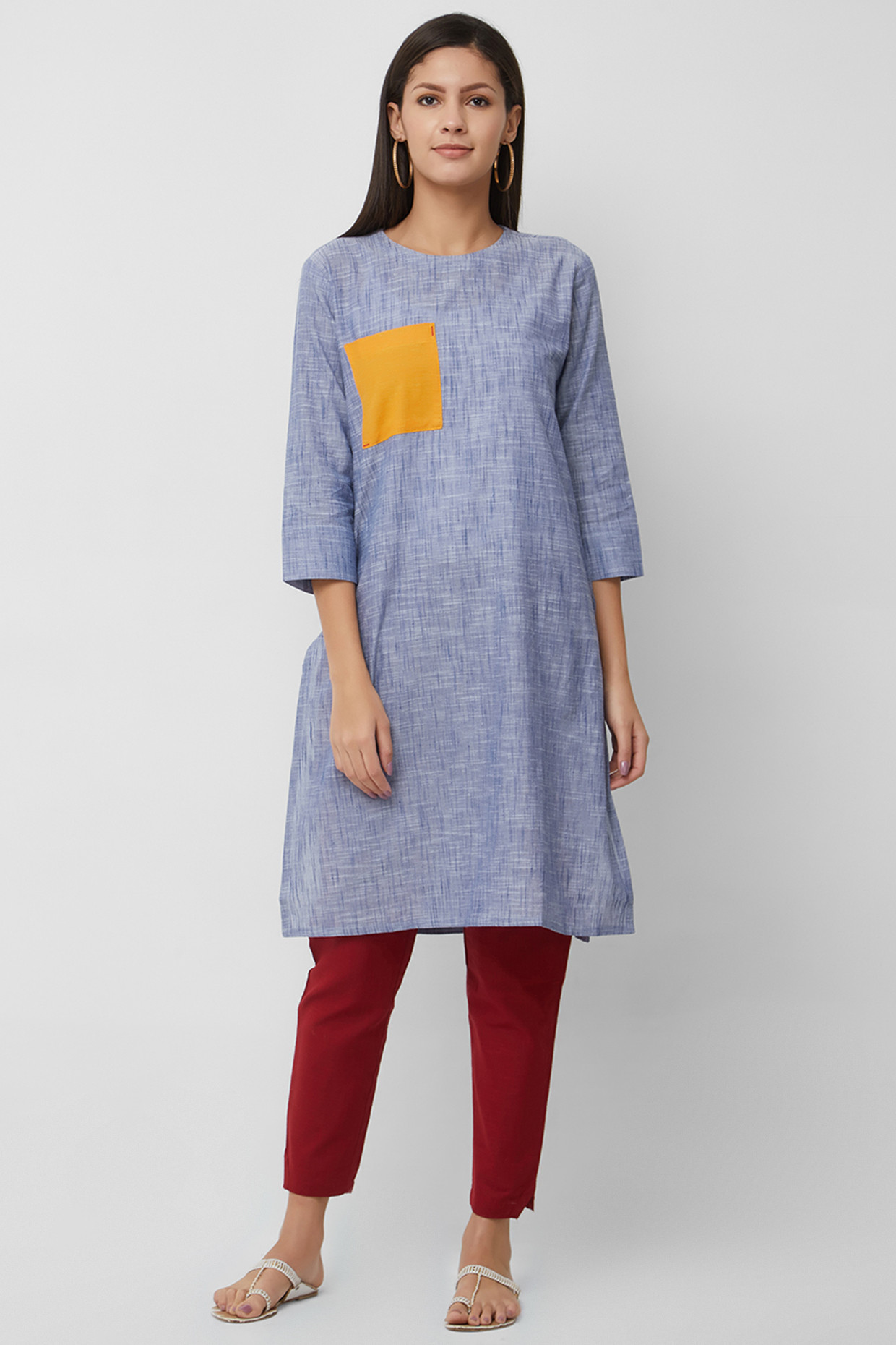 Textured Blue Kurti In Handloom Cotton by House Of Idar