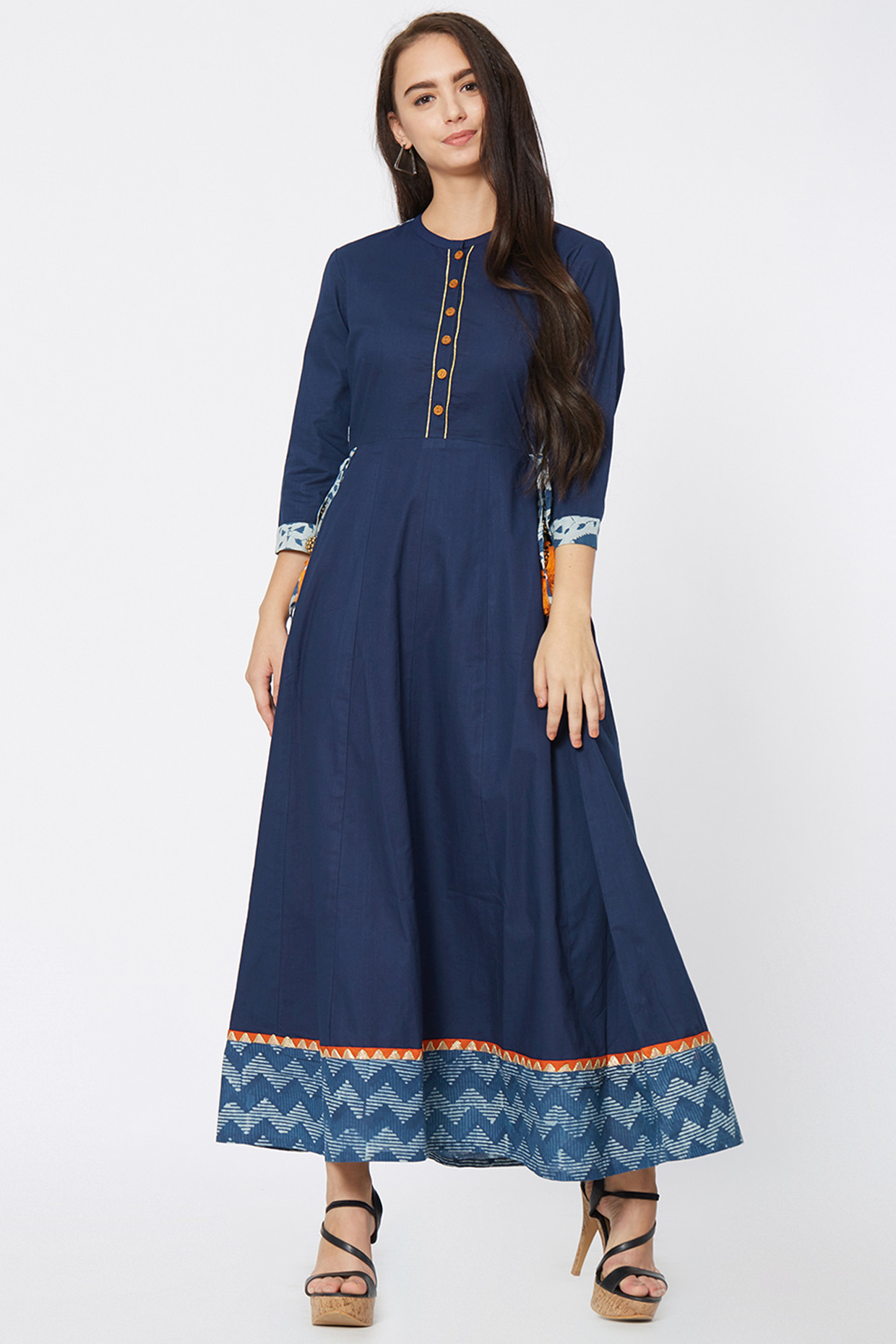 Hand Block Print Cotton Dress In Blue by House Of Idar