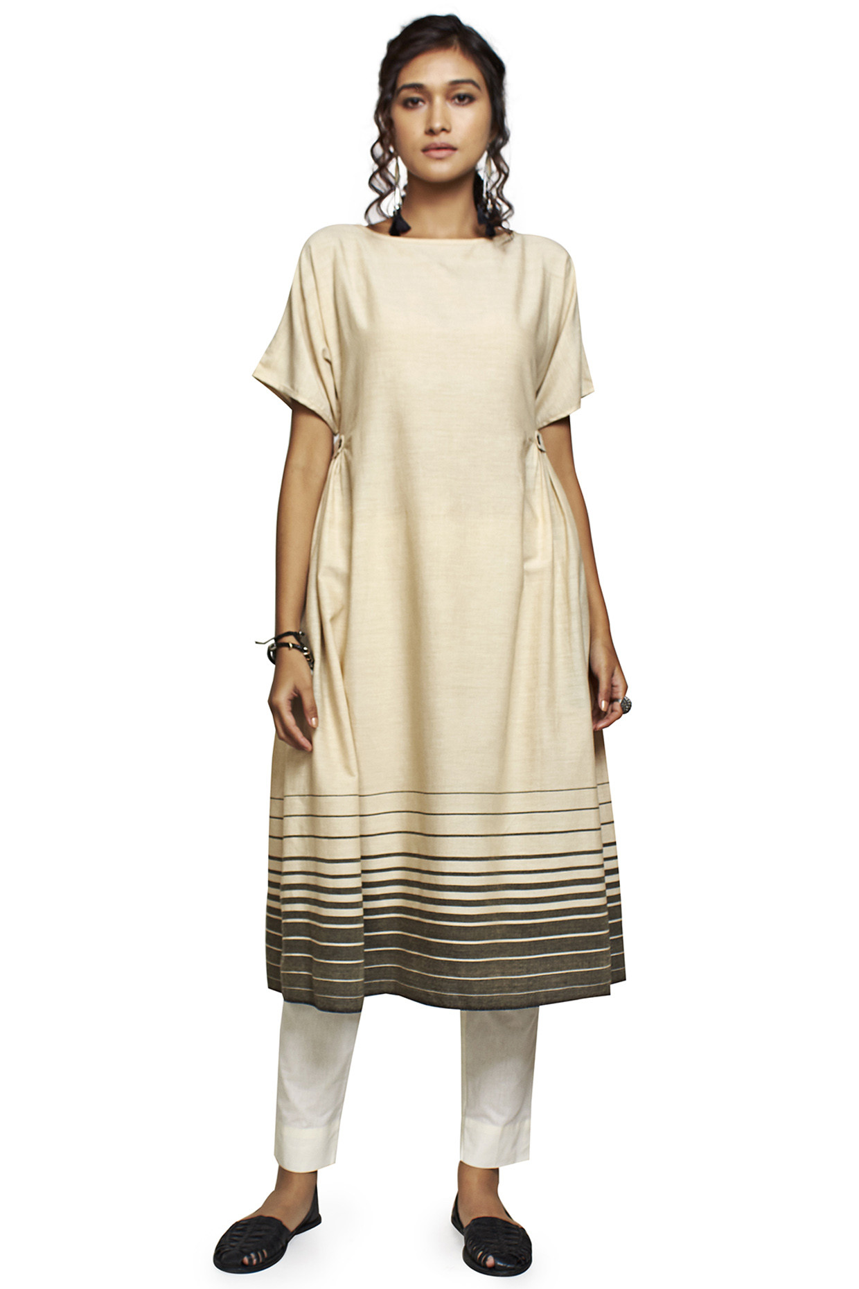 Silhouetted Beige Handloom Cotton Kurta by House Of Idar