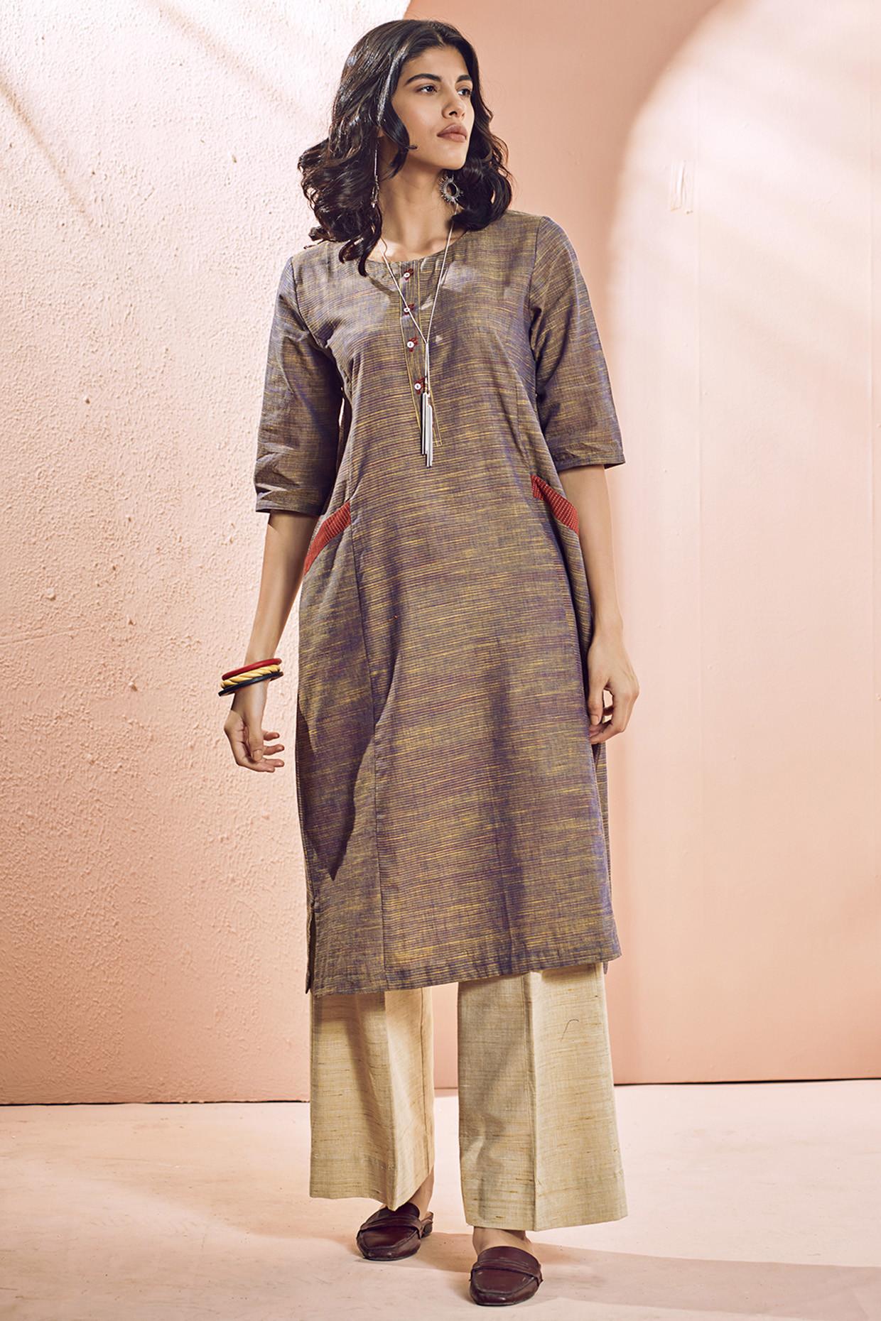 Ochre Handloom Cotton Maithili Kurti by House Of Idar