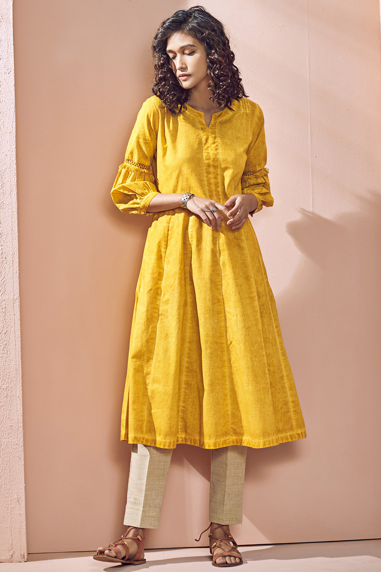 Pure Cotton Bohemian Yellow Tie Dyed Kurta by House Of Idar