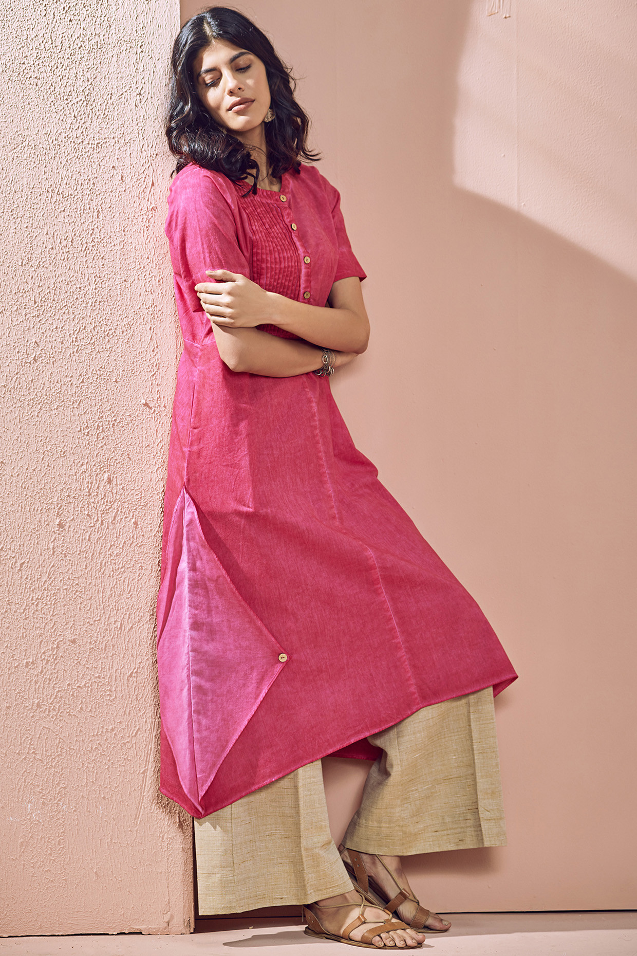 Blush Pink Tie Dyed Adhira Kurti by House Of Idar