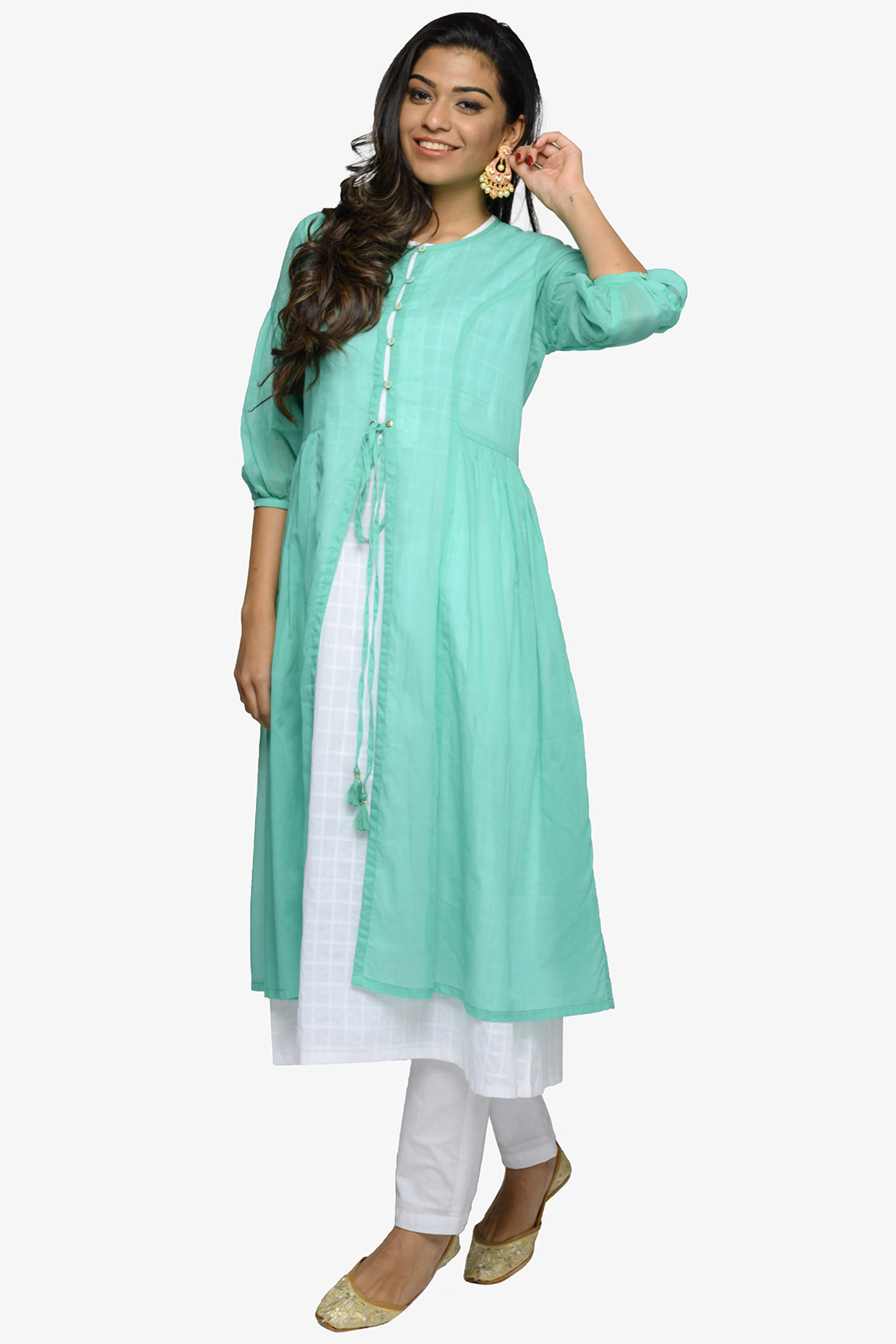 White A-line Cotton Kurta With Turquoise Jacket by House Of Idar