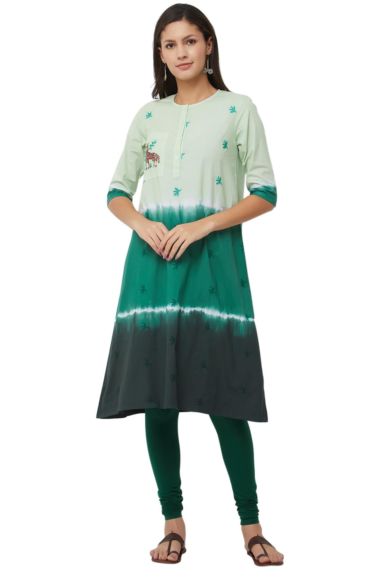 The Swara Tie Dye Kurti With Leaf Motifs by House Of Idar