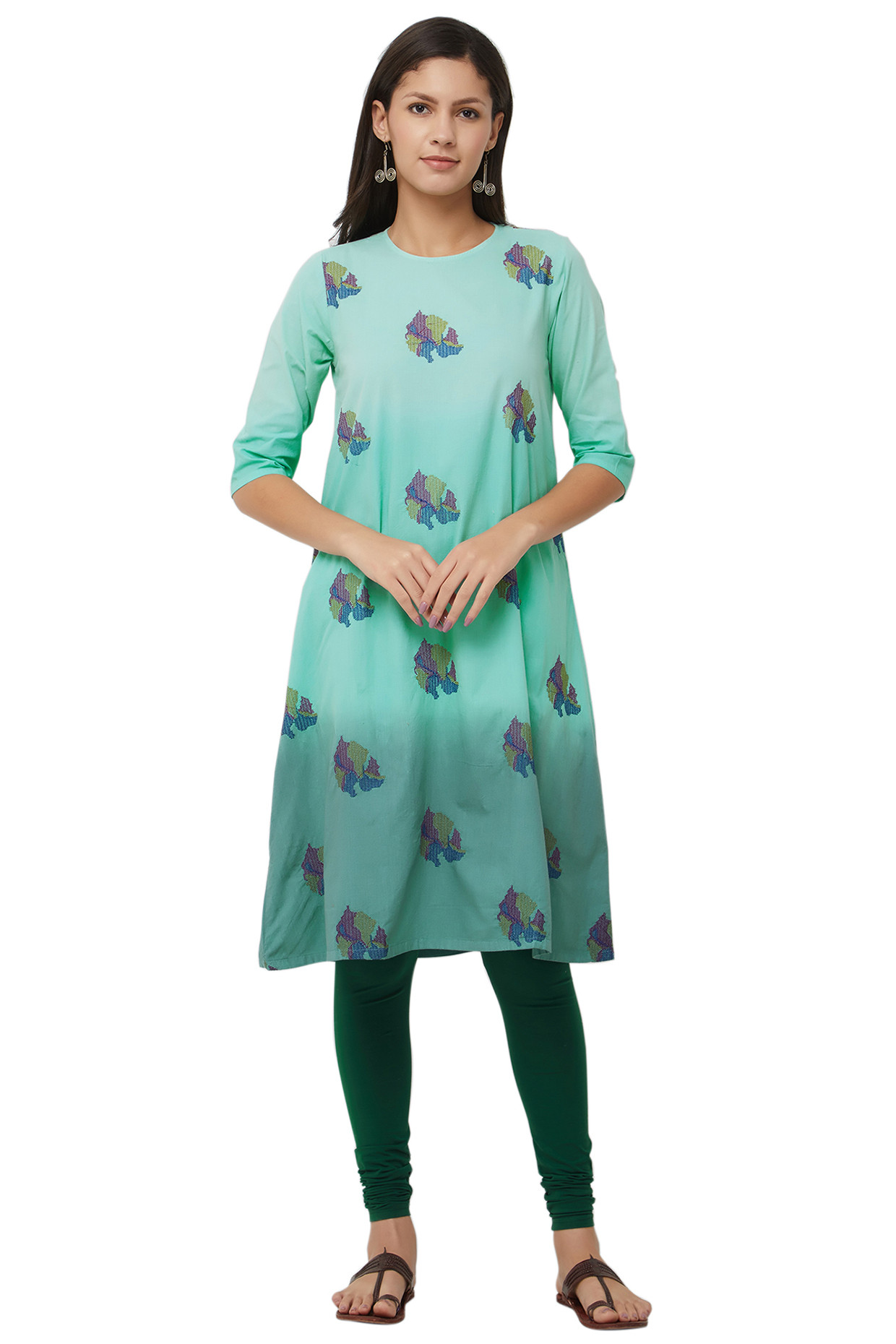 Blue Tie Dyed Cotton Kurti With Embroidered Motifs by House Of Idar