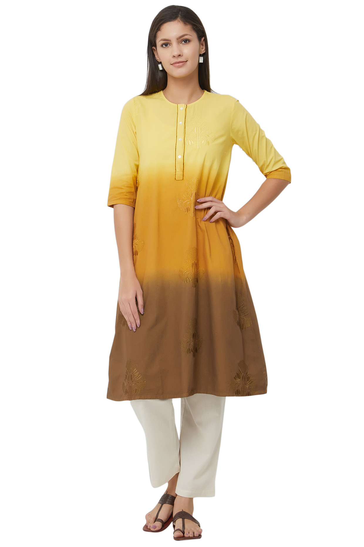 Multicolored Mellow Yellow Tie Dyed Cotton Kurti by House Of Idar