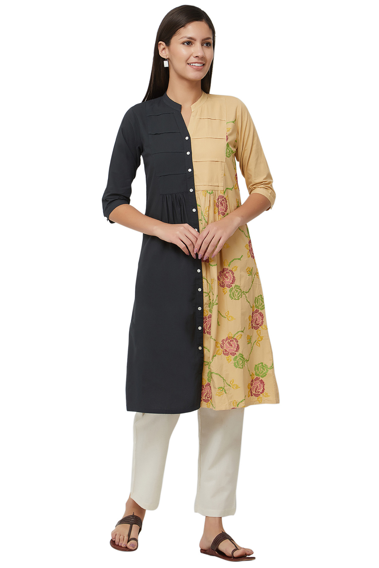 Two colored Tie Dye Cotton Kurti by House Of Idar