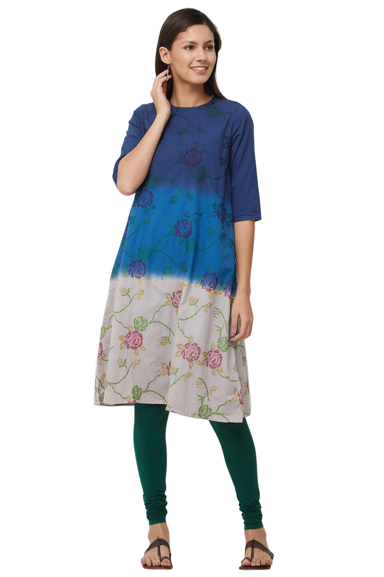 Sky Blue Tie Dyed Cotton Kurti In Pure Cotton by House Of Idar