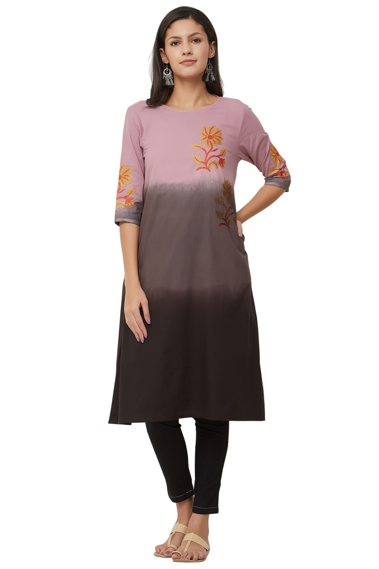 Twilight Dusky Pink Tie Dyed Kurti In Cotton by House Of Idar