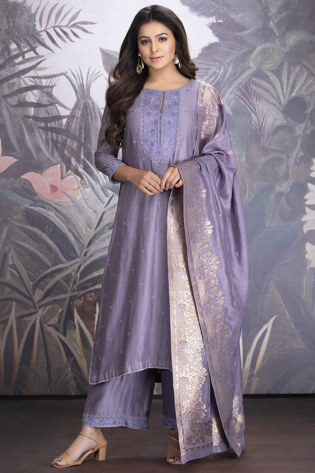 Heirloom Lilac Chanderi Silk Kurta Set With Dupatta by  House of Tushaom