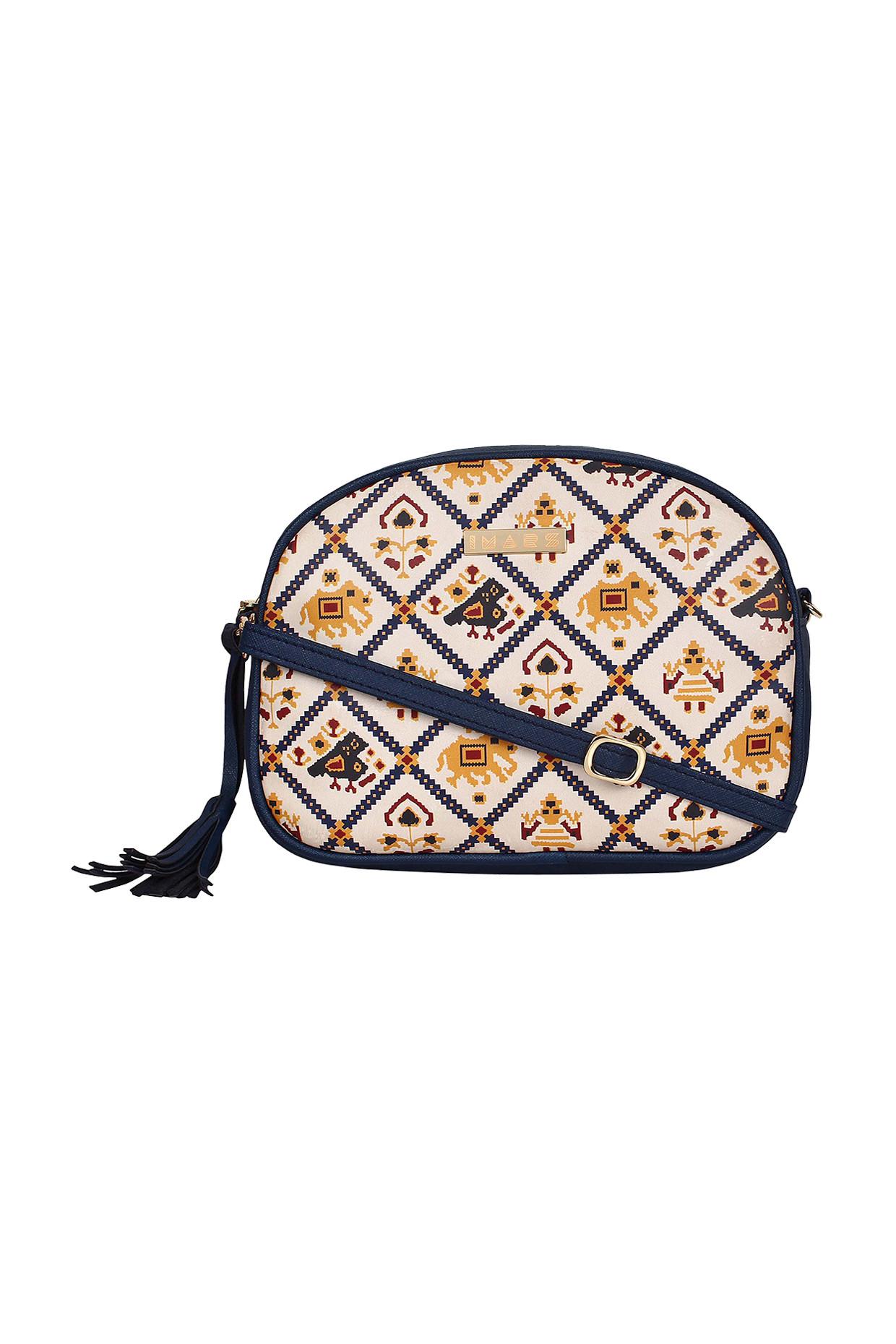 Blue Printed Sling Bag by Imars