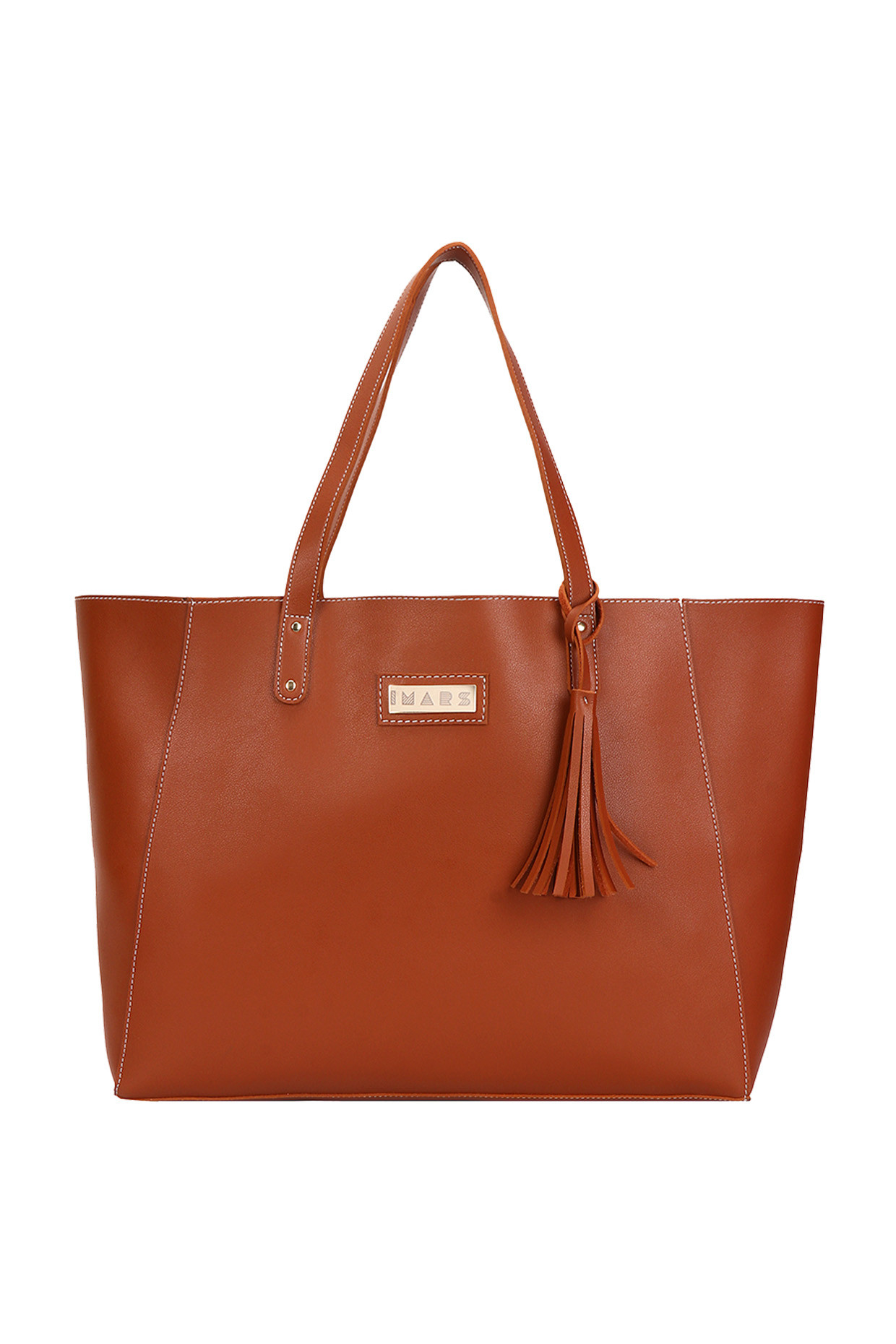Tan Signature Shopper Tote by Imars-Handpicked for You