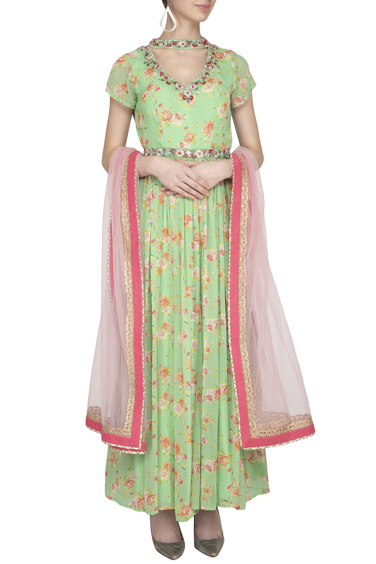 Light Green Printed Embroidered Anarkali Set With Belt by Kaia