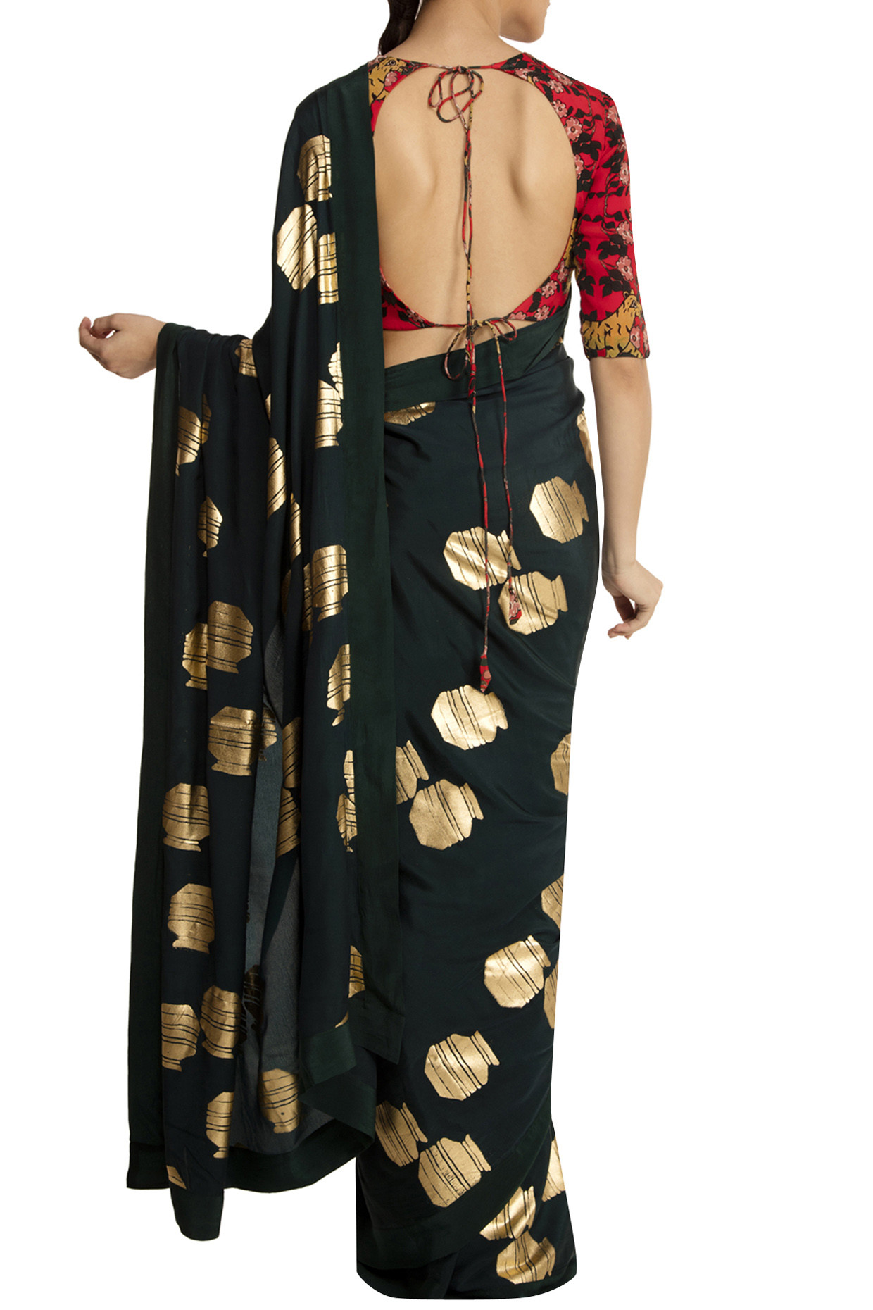 Teal Tribal Vase Print Saree with Red Blouse Piece by Masaba