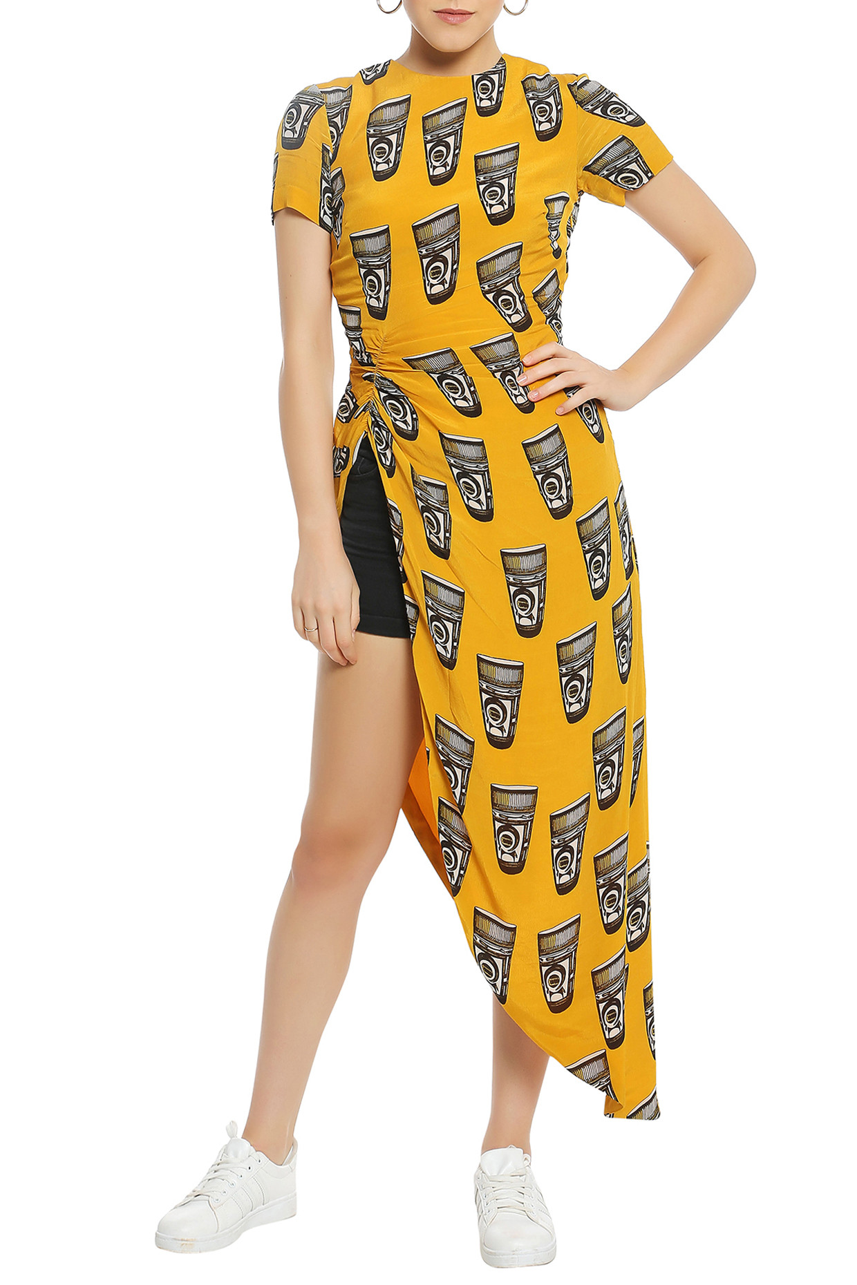 Yellow Asymmetrical Ruched Printed Top by Masaba