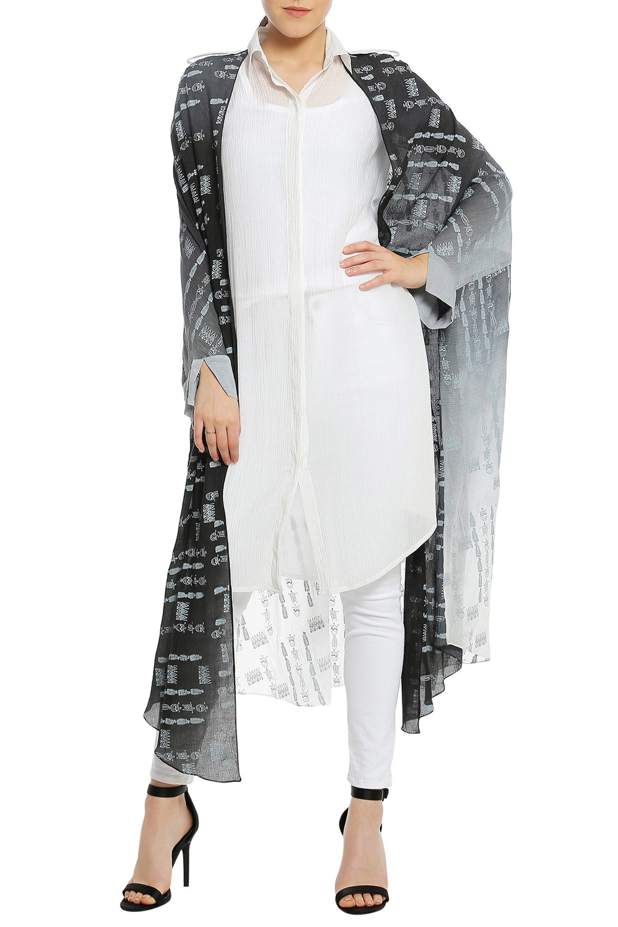 Black Ombre Printed Double Layered Shirt by Masaba