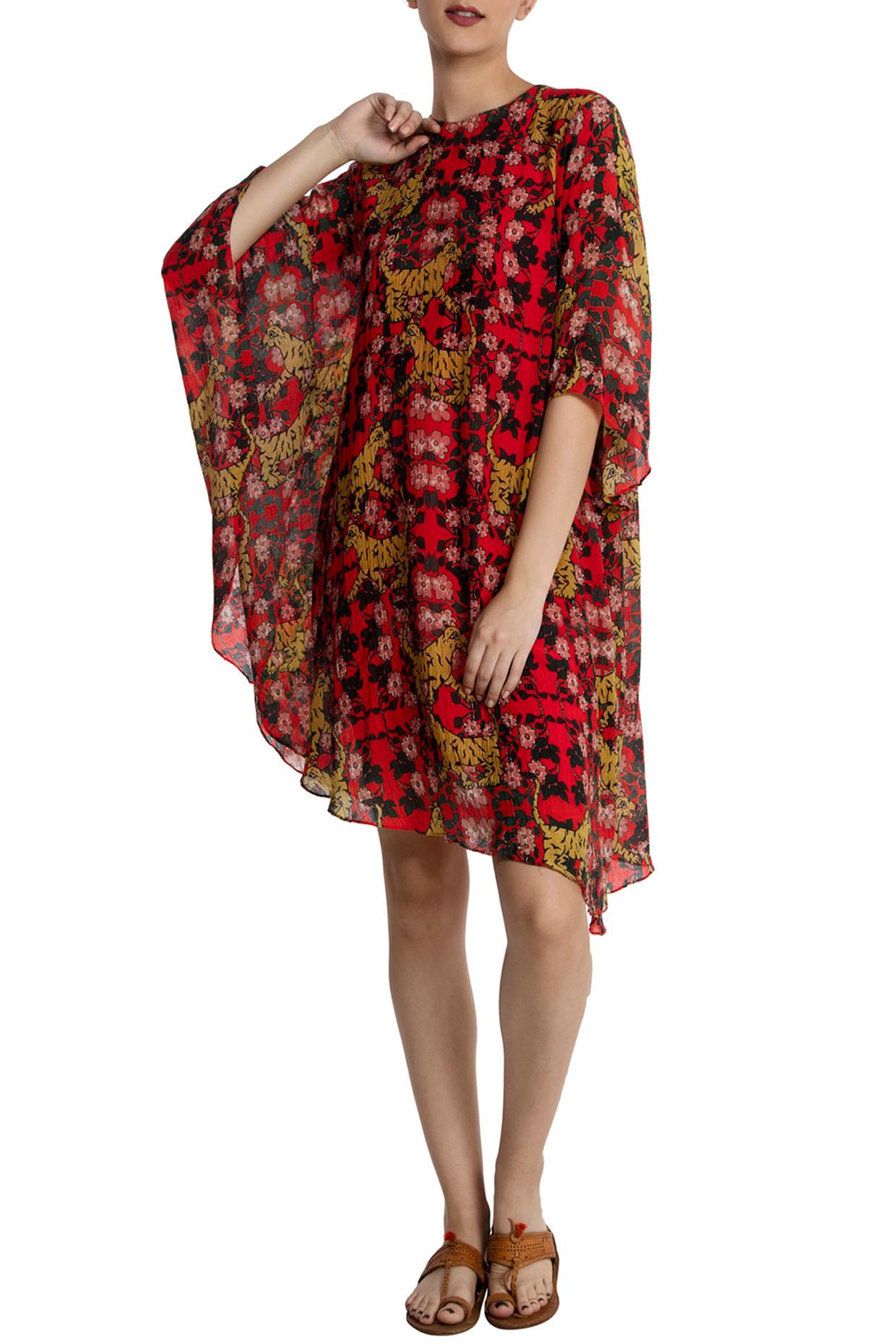 Red Tiger Lily Asymmetric Kaftan Dress by Masaba