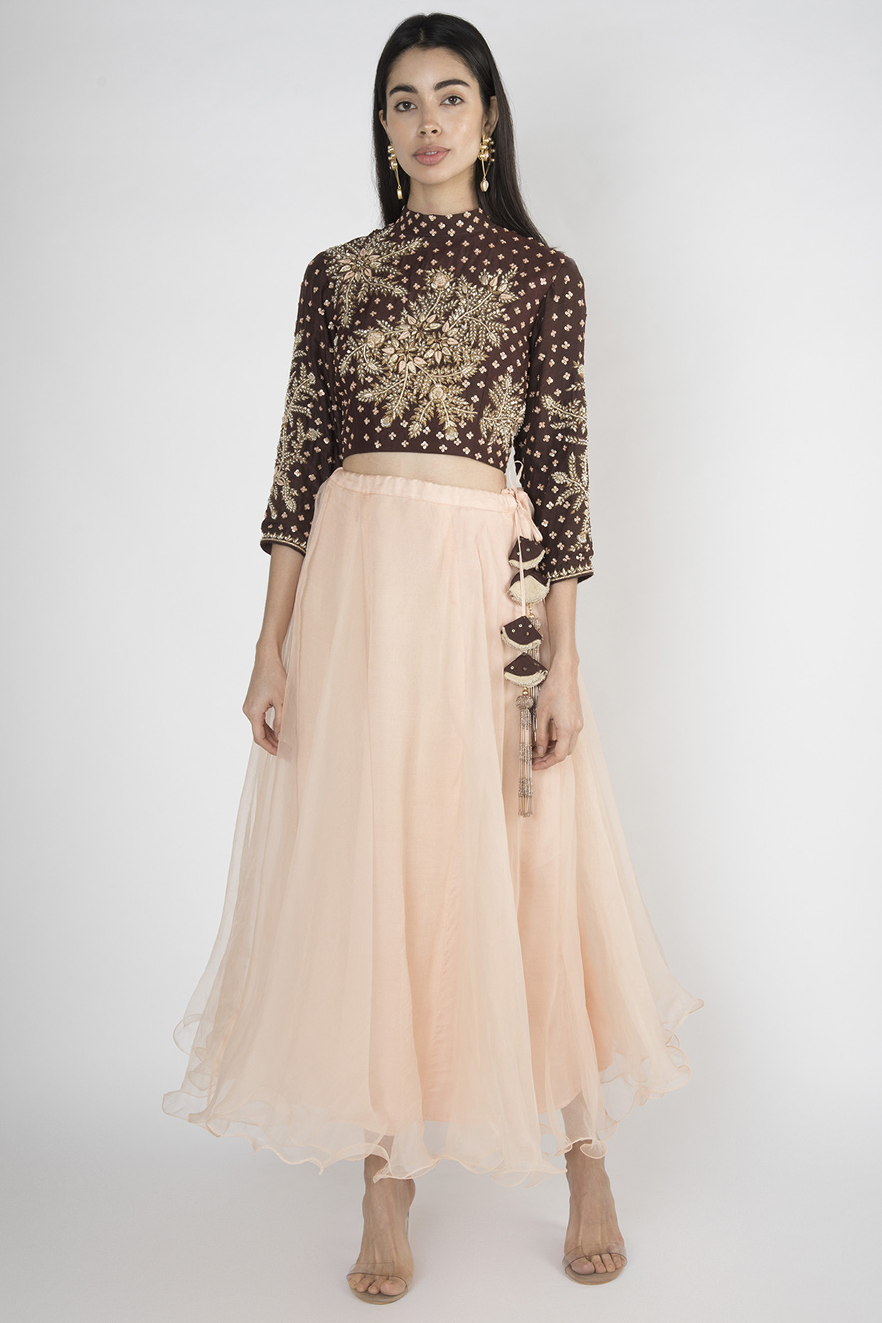 Brown Crop Top With Peach Lehenga Skirt by Megh Malhaar