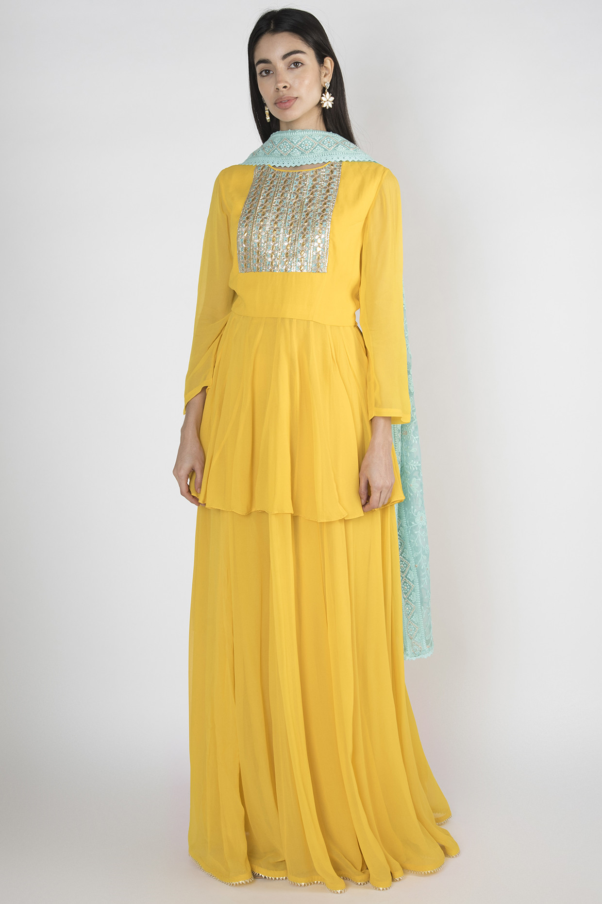 Yellow Embroidered Lehenga Set by Megh Malhaar