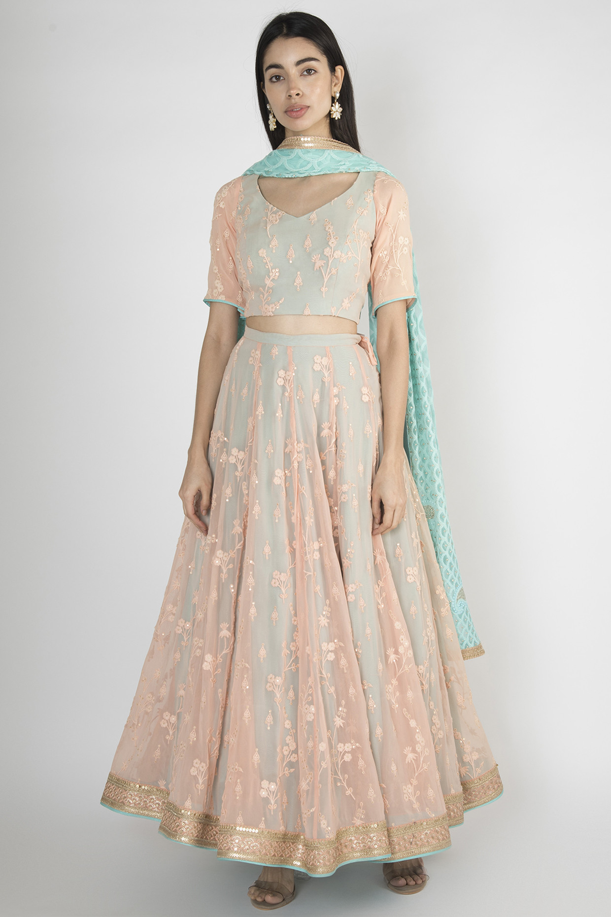 Peach Embroidered Lehenga Set by Megh Malhaar